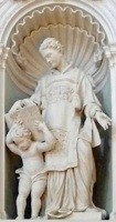 Statue av Amantius fra 1600-tallet i kirken Santa Maria di Belvedere i Città di Castello