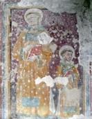 St Concordius avbildes trolig på denne fresken fra San Salvatore sammen med St Senzius